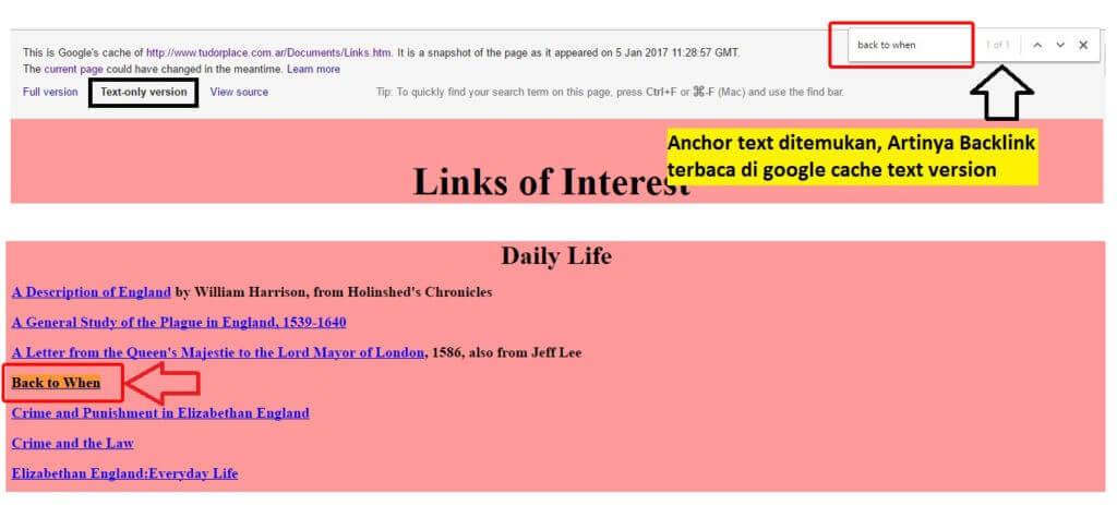 Backlink Terbaca Pada Google Cache (Text Version)